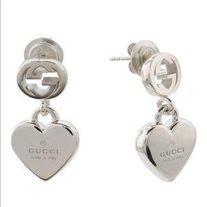 9ea3ae27f72 Gucci Sterling Silver TM Heart Drop Earrings